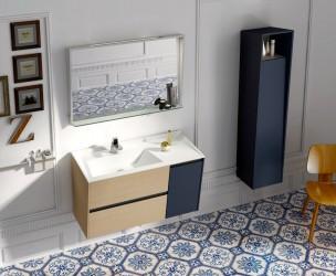 Precioso baño de diseño con madera y suelo hidráulico